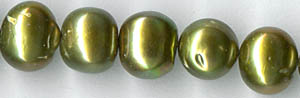 freshwater 8x9mm baroque round olive green